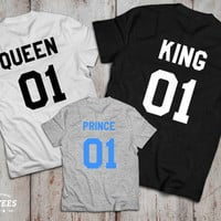 King and Queen 01 Prince 01 Father Mother Son Daughter T-shirt Set, King and Queen shirts, 01 Couples Shirt Set, 100% cotton Tee, UNISEX