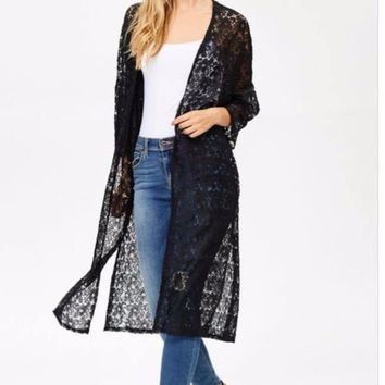 Womens Long Black Lace Cardigan/Duster/Jacket, S/M/L