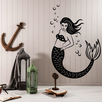 Wall Vinyl Decal Mermaid Ocean Marine Sea Romantic Wall Vinyl Decor Unique Gift z4068