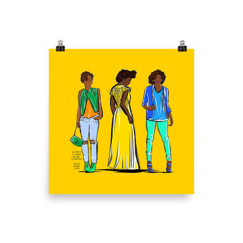 Illustrated Styles In Yellow Photo paper poster