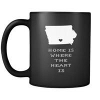 Iowa Home is where the heart is Iowa 11oz Black Mug
