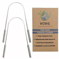 Tongue Scraper Cleaner (2 Pack) - Surgical Grade Stainless Steel Metal - Get Rid of Bacteria and Bad Breath - by WowE LifeStyle Products