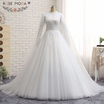 Rose Moda Real Photo Ball Gown  Long Sleeve Full Lined Muslim Wedding Dress Beading Lace Bridal Gown