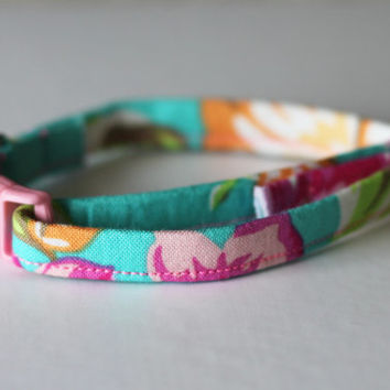 Cat Kitten Collar - Turquoise Pink Floral - Lilly Pulitzer Inspired- Adjustable - Breakaway