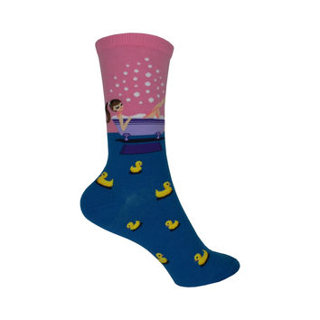 Bath Time Bliss Crew Socks in Pastel Pink