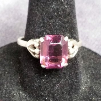Vintage Sarah Coventry sterling silver amethyst ring adjustable size 9