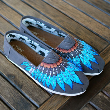 Hand Painted Blue Feather Moccasin Toms Ash Grey Canvas Classics - Customizable
