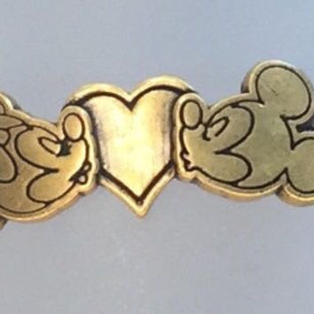 Disney Parks Mickey & Minnie Kissing Bracelet Alex & Ani Gold Finish New W Tags