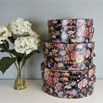 Set of 3 Vintage Nesting Large Floral Hat Box Set, Floral Stacking Boxes, Pink Green Black Roses Shabby Chic Storage Boxes, Cottage Decor