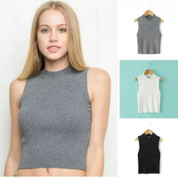 High Neck Stretch Slim Knit Vest Simple Design Crop Top [4918708036]