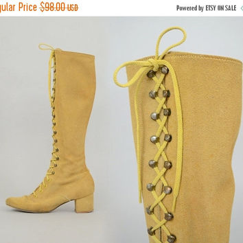 SALE 60's Suede Lace-Up Boots