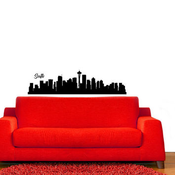 Seattle Washington City Skyline Vinyl Wall Decal Sticker Graphic