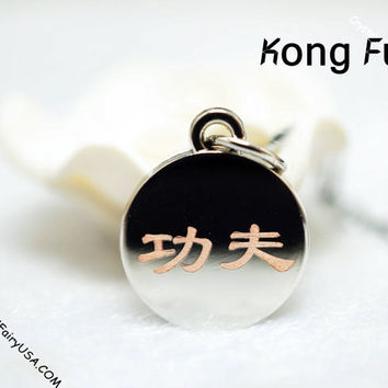 Kongfu necklace tiny silver necklace delicate initial named necklace, spiritual
