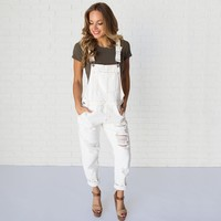 Down To Earth Denim Overalls in Off White