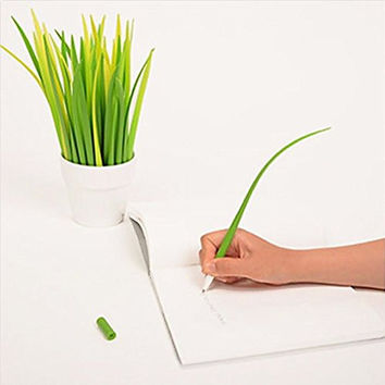 Uphome The latest Creative Stationery Gift, Grass Blade Leaf Ballpoint Pen,Black Ink Ball Point Pen,Fine Point Pen,0.5 MM,10 Pieces Pen Included,Easy & Quick Writing Pen.(no pen container)