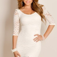 Cream White Fabulously Sexy Half Sleeve Sheer Lace Panel Textured Knit Cocktail Dress