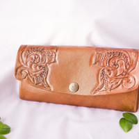 Genuine leather purse with hand tooled  design / leather bag / handbag / woman bag / leather clutch / leather purse / leather wallet