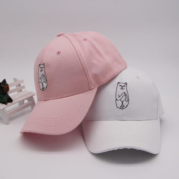 Hip-hop Embroidery Baseball Cap Cat Summer Stylish Hat