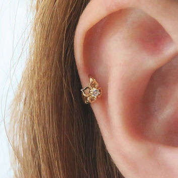 Cz Hoop Earring 14k Solid Gold Piercing Cartilage Helix