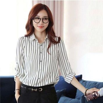 Autumn Women Casual Vertical Striped Blouse Slim Fit Long Sleeve Shirt Marine Stripes Fashion Top Ladies Shirt Blouse