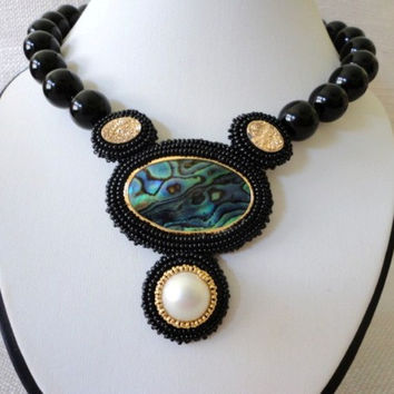 20%off fine jewelry statement necklace peacock blue green pahua shell  white mabe pearl  druzy, gemstone black onix  beaded gold necklace se