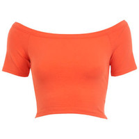 Coral Bardot Crop Top - New In