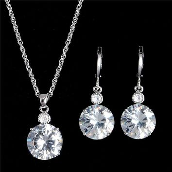 1Set 18K White/Yellow Gold Filled Brilliant Cubic Zirconia CZ Pendant Necklace Earrings Jewelry Set