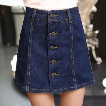 Fashion Vintage Faldas Button Pencil A-line Jeans High Waist Empire Denim Skirt Female Package Hip Skirts