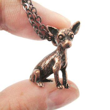 Realistic Chihuahua Puppy Dog Shaped Animal Pendant Necklace in Copper | Jewelry for Dog Lovers