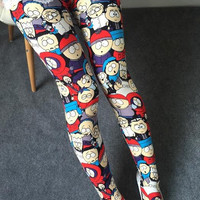 Red South Park Women Comic Cartoon Printed Leggins Stretch (ONE SIZE FITS ALL)
