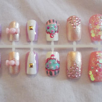 Hand painted false nails  Cute/sweets by NailedItByChelsey on Etsy