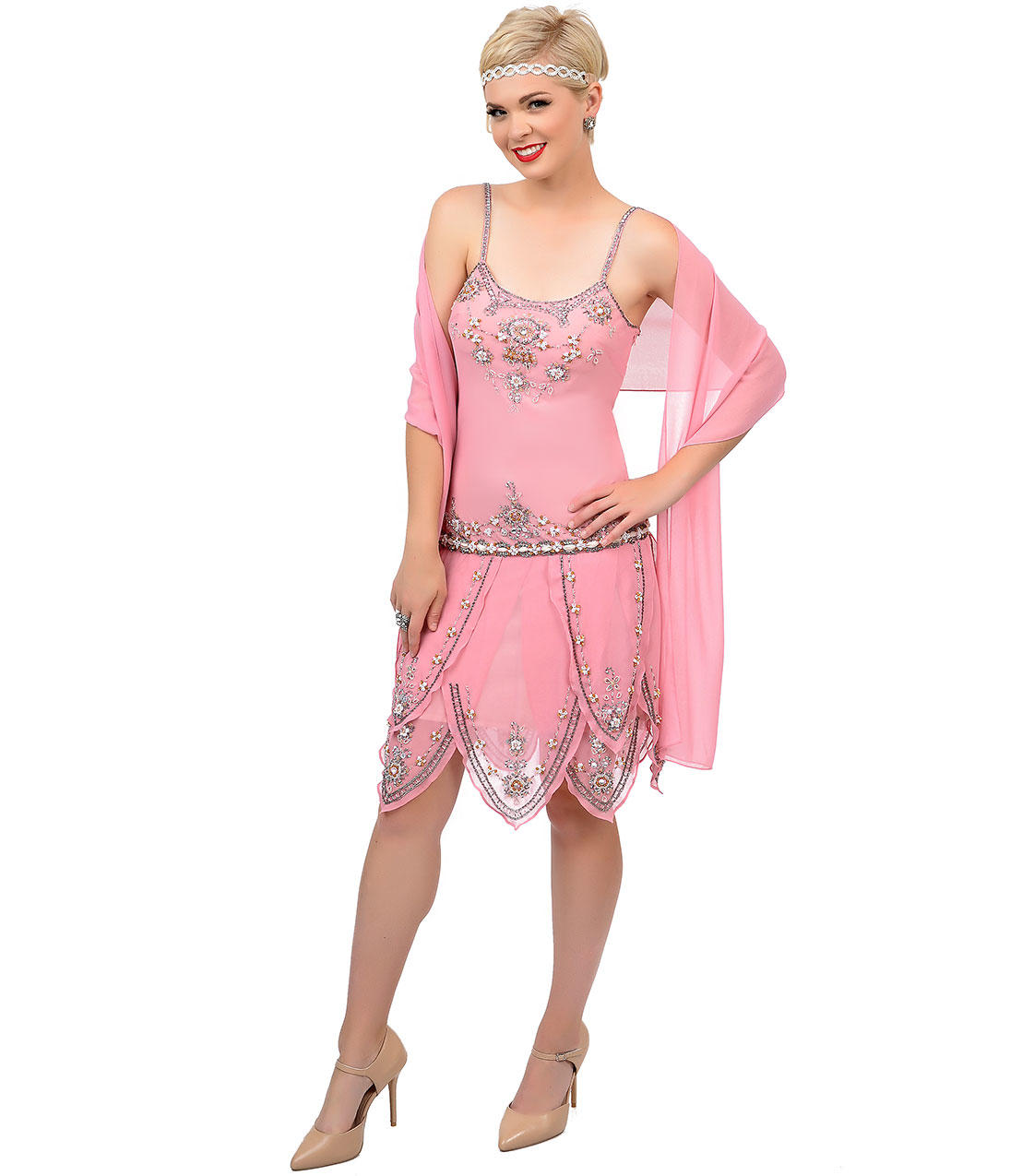 Roaring 1920s Pink Beaded Flapper Gatsby from Unique Vintage