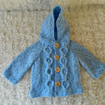 Knit Handmade Baby Girl Baby Boy Blue Hooded Cardigan Sweater with Wooden Buttons