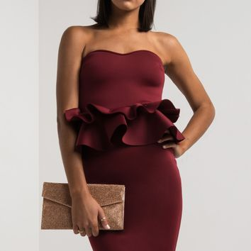 Strapless Sweetheart Neoprene Peplum Midi Dress in Burgundy