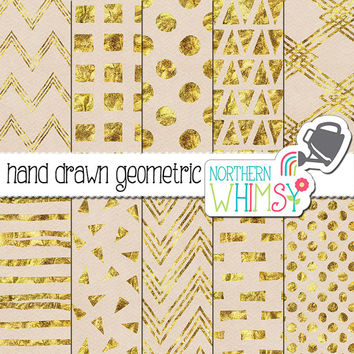 White and Gold Digital Paper – hand drawn geometric patterns in gold foil on white textured paper - perfect for wedding invitations!  CU OK
