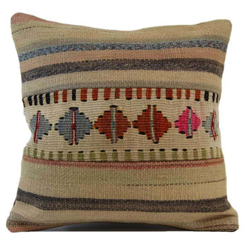 Saundra Brown/Red Striped Pattern Kilim Pillow Cover