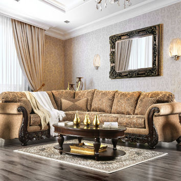 2 pc Cassandra collection tan floral patterned fabric & intricate wood trim accents sectional sofa set