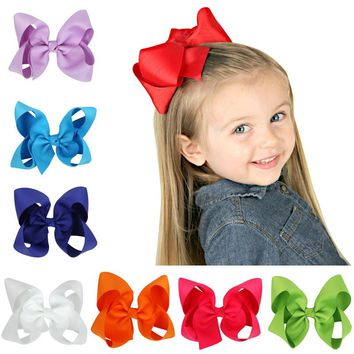 Cute Grosgrain Ribbon big solid Bow hairpins Hair Clip Pin Flower Headdress Accessories Green Yellow White Black