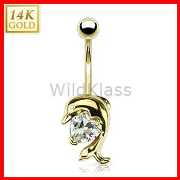 14k Solid Gold Ring 14g Belly Button Ring Dolphin Heart CZ Prong 14k Yellow Gold 14g Navel Ring Navel Jewelry