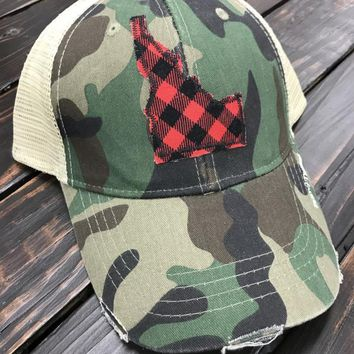 Camo & Buffalo Plaid Patch Trucker Hat