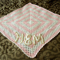 Custom Monogrammed Initials Baby Blanket - Granny Square - Pink and White