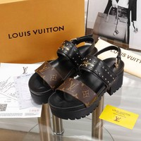 LV Louis Vuitton Trending Women Stylish Princess High Heels-Heeled Shoes Sandals Coffee I-ALS-XZ