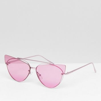 ASOS DESIGN Cat Eye Sunglasses With Laid On Extreme Lens at asos.com