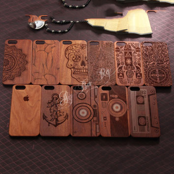 Retro Wood back Cover Case for iphone 7 7S 6 6S Plus 5 5S SE Vintage style slim Wooden sticker Plastic shell with retail Package