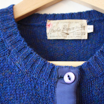60s Royal Blue Ribbon Front Shetland Wool Cardigan Womens 40 Medium