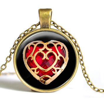 The Legend of Zelda Heart Container Fashion Pendant & Necklace - more colors available! by BAIBAOROOM