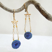 Blueberry Azurite Micro Geode Statement Earrings by seemomster