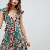 Glamorous Mini Tea Dress With Tie Waist In Toucan Print at asos.com