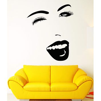 Vinyl Wall Decal Beautiful Funny Girl Cheerful Face Wink Stickers Unique Gift (1616ig)