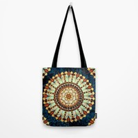 Sketched Mandala - Blue Textured Background Tote Bag by Inspired Images
